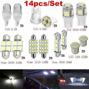 14 PCS Bulb LED Light Interior Dome Map Bright T10 Cool White For Car