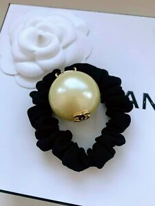CHANEL Pearl Hair Tie Scrunchie Gold CC Logo Bracelet Authentic Signed