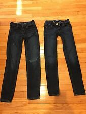 2 Pairs Of Ladies American Eagle Jeans Jeggings Lot Stretch 00 W24 Euc
