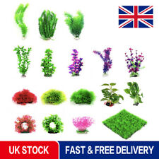 Artificial Plastic Plants Water Grass Leaf Fish Tank Aquarium Plant Ornament UK