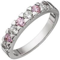 Ring Damenring mit Zirkonia rosa & weiß 925 Silber Fingerring Fingerschmuck