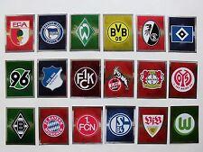 alle 18 Vereins Glitzer-Sticker, Wappen-Bilder, Vereinslogos BL Saison 2011/2012