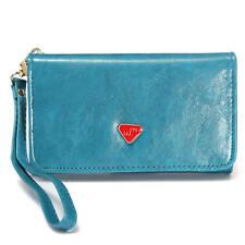 Porte-monnaie et portefeuilles bleus chéquier en cuir pour femme