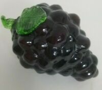 Vintage Art Glass Purple Grape Cluster with Green Leaves,  Mid-Century Modern