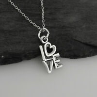 LOVE w/ Heart Charm Necklace - 925 Sterling Silver - Gift Anniversary Valentine