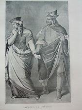 ANTIQUE PRINT C1910 GUNTHER AND BRUNHILD FAMOUS AUTHORS LITERATURE VINTAGE ART