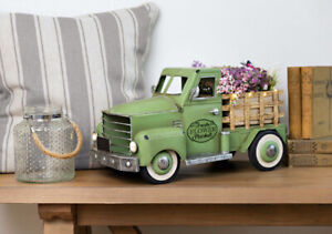 Farmhouse Pre-Lit LED Vintage Green Spring Truck With Flowers New in Sealed Box