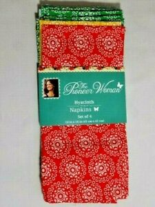 Pioneer Woman Hyacinth Floral Dinner Napkins 4-Pc Square Cotton Polyester Gift