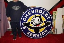 "New ListingLarge Felix Chevrolet Service Gm 1957 Oil Gas 2 Sided 36"" Porcelain Metal Sign"
