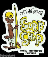 """ON THE BEACH SURF SHOP CARMEL USA"" Sticker Decal Surfing 1960s Surfboard Surfer"