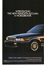 1989 Plymouth Acclaim 2 Page Advertisement