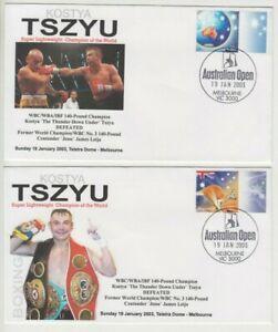 Stamp Australia 2003 Kostya Tszyu boxer pair souvenir covers Tennis postmarks