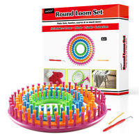 LAYOER Round Loom Set Plastic Knitting Looms with Hook Needle Weaving Circle