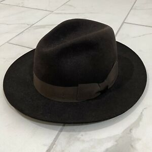 IMPOSSIBLE TO FIND Suitsupply Rabbit Fur Fedora Hat Size 7 1/4 Chocolate Brown