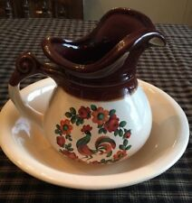 McCoy Pottery Pitcher And Bowl Set.Vintage Rooster. Excellent Condition