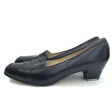 Vintage 80s Navy Leather BARKER ELLA Shoes Pumps Classic Courts UK 6.5