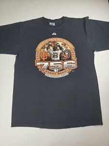 Barry Bonds Home Run King 756 T-Shirt Men's Size XL Black Majestic