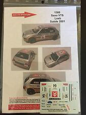 DECALS 1/43 CITROEN SAXO VTS SEBASTIEN LOEB RALLYE DE SUEDE 2001 RALLY WRC