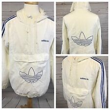 Vintage Adidas Big Trefoil 3 Stripe White Blue Jacket Mens XL