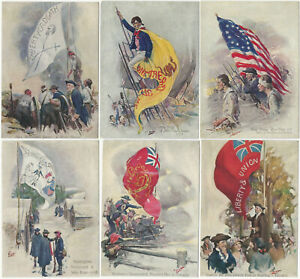 Six American Revolutionary War Flags in Battle Painting Cards by Artist Brett