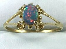 18K Natural Australian Boulder Opal RING_750 yellow gold_claw setting