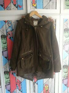 Newlook Winter coat size 14 Good Condition Faux Fur Trim Hood Heavy Warm Coat