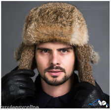 Brown Men Snowboard Real Rabbit Fur Russia Trapper Aviator Warm Bomber Hat Cap