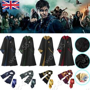 UK Harry Potter Gryffindor Ravenclaw Slytherin Robe Cloak Tie Costume Wand Scarf
