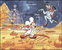 Maldives 1988 Disney/Space/Moon Walk/Mickey/Cartoons/Animation 1v m/s (b4762k)