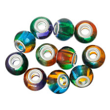10 Glass European Style Multi Coloured Beads 15mm Large Hole 4.9mm J36618XD