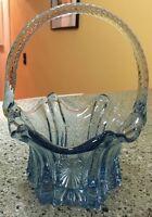 Beautiful Blue Art Glass Fenton TwistedHandled Basket