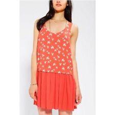 Cooperative Urban Outfitters Drop Waist Bird Print Dress Coral Sleeveless Size M