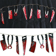 Halloween Party Haunted House Hanging Garland Bloody Saw Knife Tools Decoration