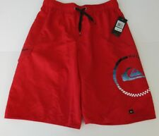 Quiksilver Big Boys L Board Swim Trunks Shorts Mesh Lined Red Large Swimming