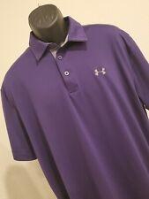 UNDER ARMOUR Mens Golf Polo Shirt Heatgear Loose Purple Size 2XL XXL EUC
