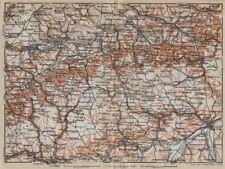 SCHWÄBISCHE ALB. Swabian Jura topo-map. Ulm Rottenburg Gmünd Kirchheim 1914