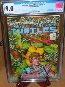 💎Teenage Mutant Ninja Turtles #12 CGC 9.0 Mirage Studios Comic 1987 White Pages