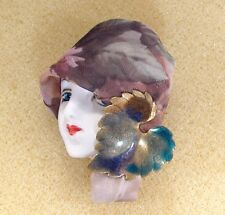 pin brooch Figural Fall Colors Handmade Lady Head doll Face Porcelain-Look Resin