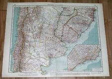 1937 ORIGINAL VINTAGE MAP OF ARGENTINA BUENOS AIRES CHILE URUGUAY PARAGUAY