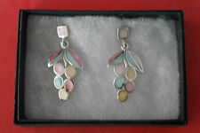 925 Silver Earrings With Multi Color Enamel 8.3 Gr.4 Cm.Long In Elegant Gift Box