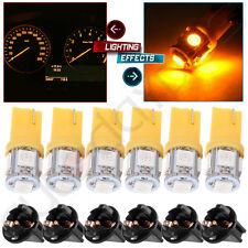 6x Yellow 168 194 T10 5SMD LED Instrument Dash Speedometer Light Bulb w/ Sockets