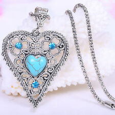 Retro Hollow Turquoise Jewelry Present Tibet Heart-shaped Pendant Necklace New
