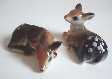 * Lot 2 Handmade Hand-Painted Animal Miniature Ceramic Deer Bambi Figurine *