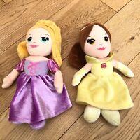 Two Disney Posh Paws Princess Soft Dolls Belle Rapunzel <DD710z