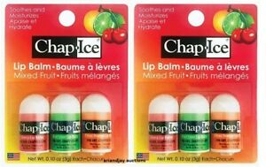 2 Packs of 3 Chap Ice Mixed Fruit Lip Balms Cherry Citrus Lime Exp 7/2021 New