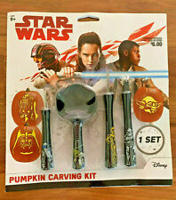STAR WARS HALLOWEEN PUMPKIN CARVING KIT ~ 7 PATTERNS & TOOLS ~ VADER YODA R2D2