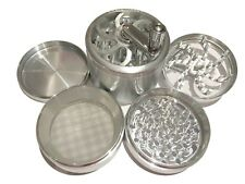 "SharpStone® 3.0"" Inch 4pc Crank Top Herb Tobacco X-Large Silver Grinder + Extras"