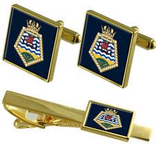 Royal Navy Royal Fleet Auxiliary Largs Bay Gold Tie Clip Cufflinks Box Set
