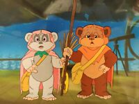 Star Wars EWOKS Wicket Kneesaa Animation Production Cel + painted background S1
