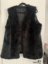 Womans New Look Black Faux Fur Gilet Size 22 Plus Size Worn Once